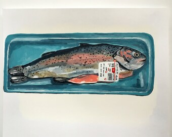 Acrylic still life painting // Trout no. 2 // original art // illustration on paper // fish painting