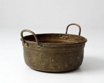 SALE antique brass bowl with handles, large decorative basin