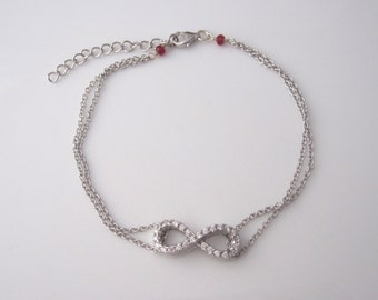 INFINITY ETERNITY CZ stones sterling silver bracelet with red ruby gemstone accents, love bracelet