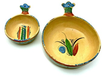 Vintage Mexican Pottery Bowls - Set of 2 - Hand Painted Red Terra Cotta Clay Folk Art Pots - Rustic Southwestern Home Decor