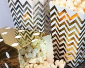 Party Favor Boxes, 12 Gold Foil Chevron Mini Popcorn Boxes, Wedding Favor Boxes, Gold Party Favor Popcorn Boxes, Snack Boxes, Treat Boxes