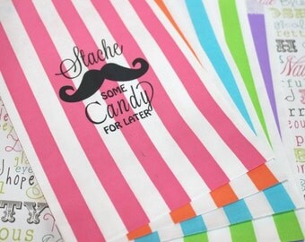 """25 Personalized Candy Bags,  """"Stache Some Candy for Later"""",  Custom Print Mustache Party Bags, Personalized Stripe Favor Bag"""