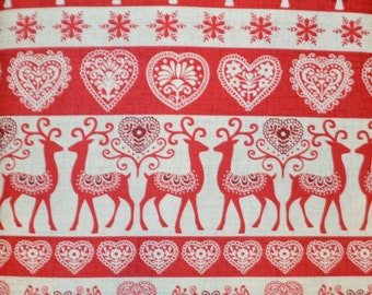 Andover. Scandi. Reindeer Stripe in Red - BTY - Cotton Fabric - Choose your cut
