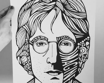 John Lennon Portrait Print | The Beatles Poster | Lennon | Lennon Imagine Art Print | Intricate Portrait | Singer Print