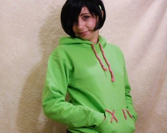 COMMISSION Bright Green Hoodie Vanellope Wreck it Ralph Cosplay Costume