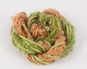 Moss green Forest copper brown Silk sewing Thread Silk embroidery Hand Dyed couching quilting thread weaving yarn fibre art embellishment
