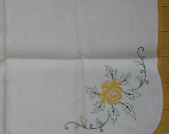 Vintage Linen Tablecloth - Small Floral Embroidered Cloth, Tatted Gold Edging, Wedding or Shower Decor