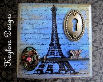 Paris, Hand Painted Decorative Jewlery box, Gift Box, Eiffel tower