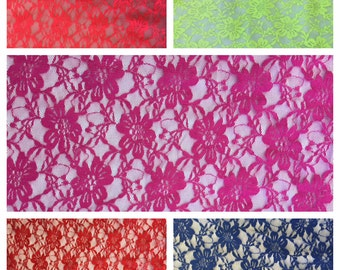 4 Way Stretch Vintage Floral Lace Fabric