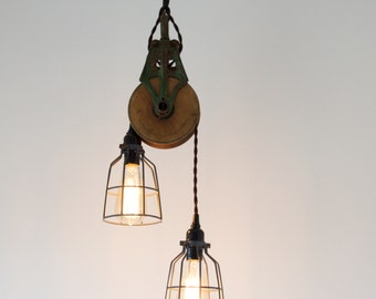 Green Antique Barn Pulley Pendant, Industrial modern lighting