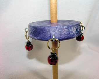 Beaded Holly Whorl Tibetan Compromise Support Spindle...Tangled Up in Blue