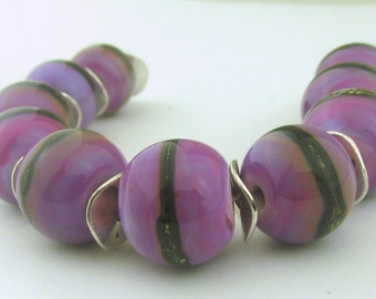 Purple Rose rounds with Silvered Ivory Lampwork Beads  (10) - LEteam