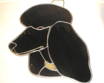 LT Stained glass black Poodle sun catcher light catcher domestic dogs head with yellow lime mix collar