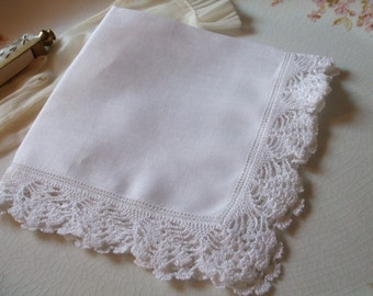 Handkerchief Crochet Linen Hanky Bridal Wedding June Bride