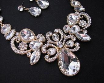 Gold tone Bridal Statement Necklace Set, Wedding Jewelry Set, Vintage Inspired Necklace, Rhinestone Necklace, Bridal Necklace