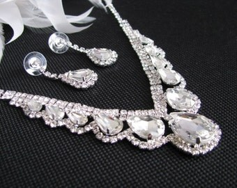 2 piece set Wedding Necklace Backdrop Bridal Necklace - Bridal Jewelry - Wedding Necklace - bridal set- Backdrop Bridal Necklace