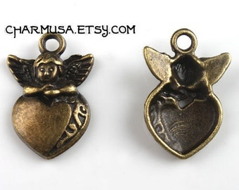 Antique Bronze Metal Angel over Puff Heart 3D Charm Pendants earrings destash collection SALE USA