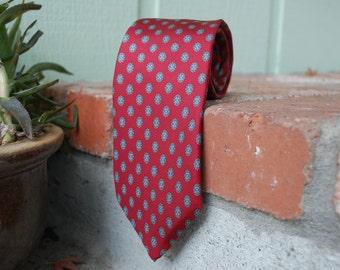 Vintage Mens Tie Necktie Christian Dior Designer Red Elegant Classic Mad Men Wedding Preppy Hipster Hamptons Italian Silk Designer Spring