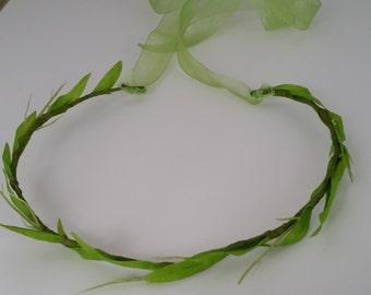 Minimalist leafy hair wreath special price bright Green Renaissance Vine Bridal Celtic halo spring Wedding Accessories