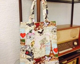 SALE Reusable Bag Tote Paris