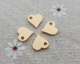 Wholesale-Mini heart charms/tags-50 pcs polished hearts-T1080jin