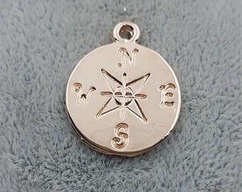 50 pcs Lead free-OFF Sale-rose gold compass charms-T0119meigui