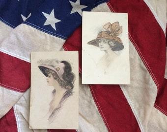 Two Gorgeous Antique Schlesinger Lady Postcards