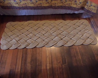"72"" x 24"" Large Soft Runner Rope Rug Nautical Rustic Beach Knotted Tan Khaki Natural Rope Recycled Eco-Friendly"