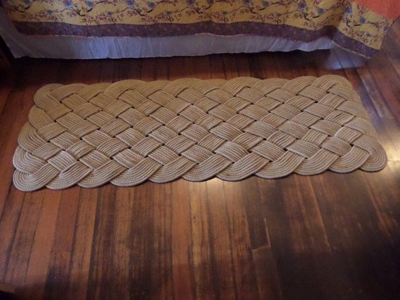 72 x 24 large soft runner rope rug nautical rustic for Large nautical rope