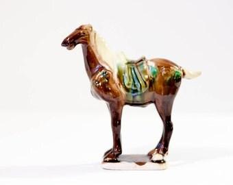 Vintage ceramic horse figure Chinese Imperial war horse sculpture dark brown Asian tang sancai reproduction