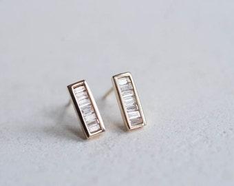 Baguette Diamond Bar Earrings 14k Recycled Gold | Diamond Bar Studs 14k Gold