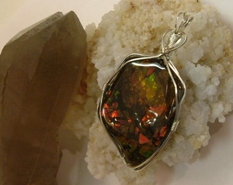 Large, Bright Green, Red, Red-Orange, and Yellow to Gold Color Fire Ammolite from Utah Deposit in Argentium Sterling Silver Wire Wrap 428