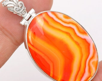 Very Beautiful Orange Botswana Agate Pendant, One of a Kind, Abstract Design, with Organza Cord
