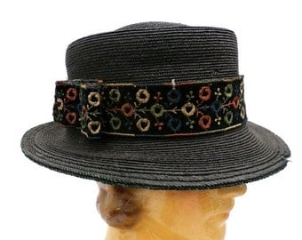 On Sale Now Antique Straw Hat Small Brim Rare Early Teens 1911-15 Ladies Embroidered Ribbon band Med-L