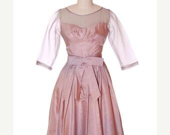 One Sale Thru Feb 14 Vintage Party Dress Silk Organza in Mauve 1950s Ferman O'Grady 36-24-Free Small