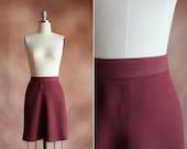 vintage 1970's rust burgundy crepe high waisted mini skater skirt / size m