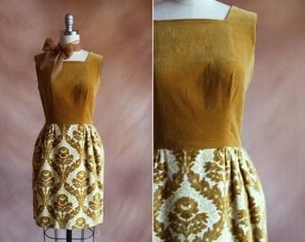 vintage 1960's mustard velvet tapestry mini dress / size s