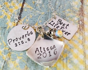 Design Your Own Graduation Sterling Silver Necklace with custom-made pendants.