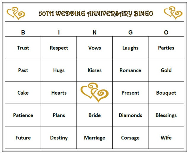 Th anniversary party bingo game cards golden