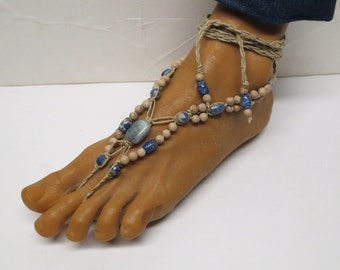 SALE Pair of aquamarine gemstone, sodalite blue stone, and grain stone barefoot sandals made with hemp.  Beach fashion. HFT-A241