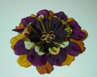 Fabric Flower Accessory, Warm Autumn Colors Hair Clip or Lapel Pin, Flower Pin or Hair Clip, Stocking Stuffer