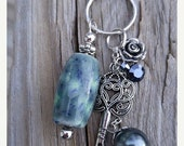 On Sale Purse Charm, Keychain, Zipper Pull with Handmade Ceramic Beads from my Charleston, SC Studio