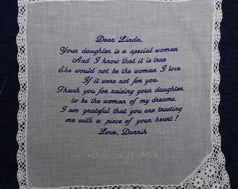 Mother of the Bride Handkerchief from the Groom