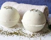100% Natural Moringa Lavender Mint Eucalyptus EOs Bath Bomb w/ Dead Sea Salt. Soothing Muscle & Sinus Blend. Vegan. Approx 4 oz each