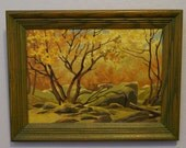 Mid Century Paint by Number Oil Painting Autumn in the Woods