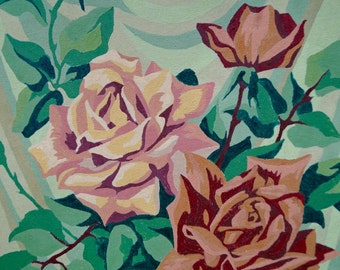 Vintage Roses Paint by Number 1950s