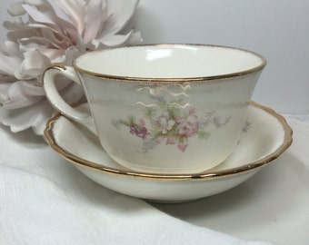 Vintage Cup & Saucer Soft Pink Floral Teacup w/ Sprayed Gold Rims ~ #A2170