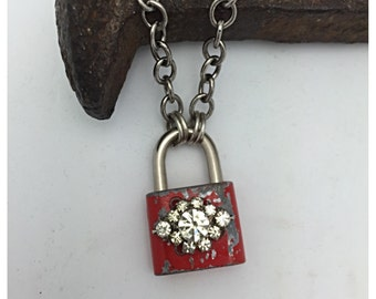 Padlock Necklace Vintage Necklace Steampunk Necklace