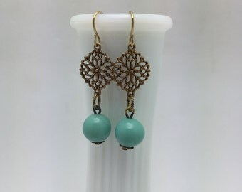 Turquoise Earrings Turquoise Ball Earrings Vintage Earrings
