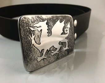 Welsh Dragon Belt Buckle - Etched Stainless Steel - Handmade
